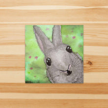 Load image into Gallery viewer, Bunny Surprise  - Rabbit Inspired Watercolor Painting - Square Vinyl Sticker