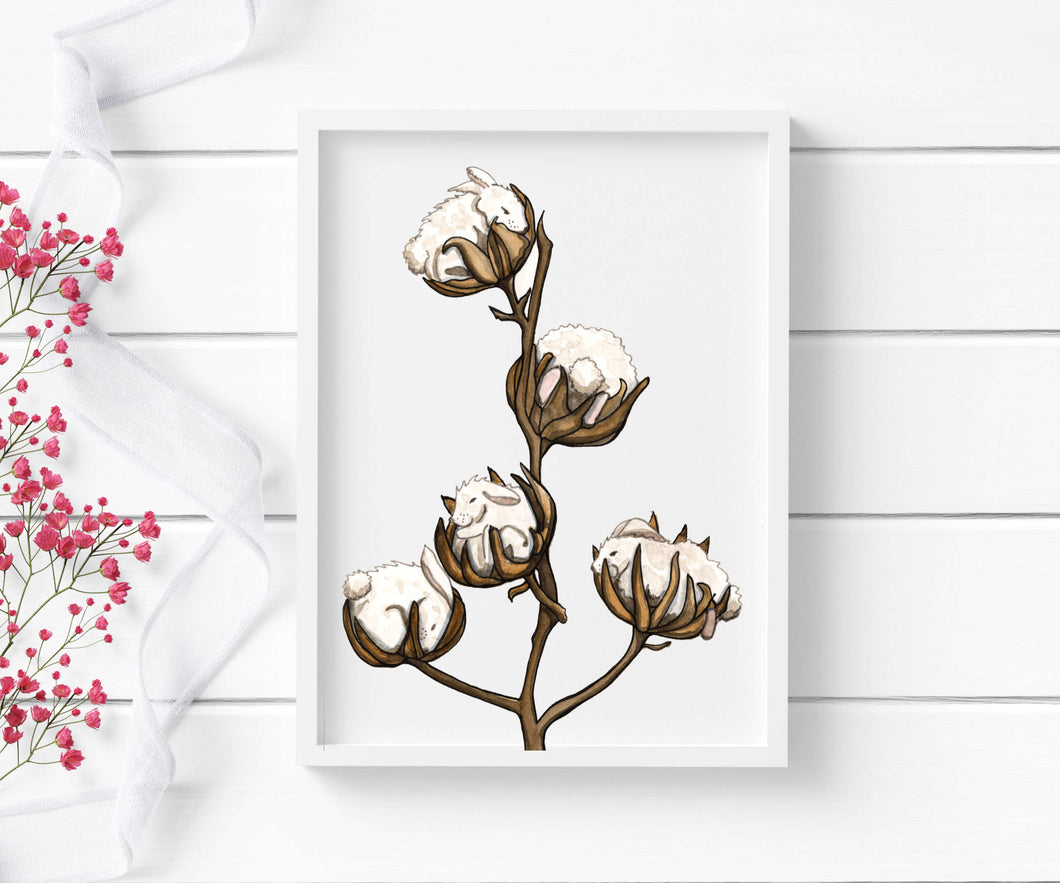 Cotton Tails - Bunny Inspired Watercolor - Art Print