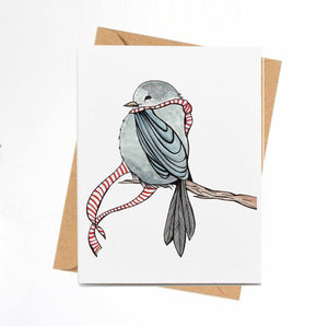Cozy Bird - Storybook Inspired Watercolor Art Print - Handmade Note Card