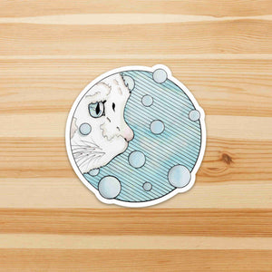Curiosity - Precocious Cat Inspired Watercolor - Die Cut Vinyl Sticker