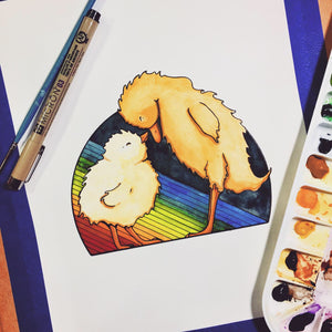 Cheer Up Ducky - Friendship Inspired Original Watercolor & Ink Illustration
