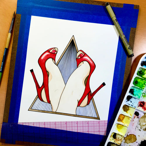 Kick Up Your Heels - High Heel Inspired Original Watercolor & Ink Illustration