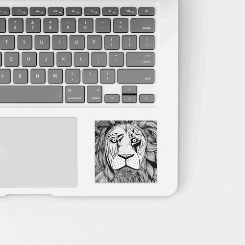 Elliott Lion - Animal Inspired Watercolor Painting - Square Vinyl Sticker