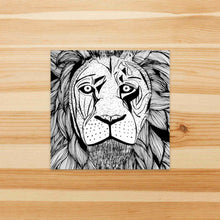 Load image into Gallery viewer, Elliott Lion - Animal Inspired Watercolor Painting - Square Vinyl Sticker