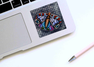 I Have My Eyes on You - Moth Inspired Watercolor Painting - Square Vinyl Sticker