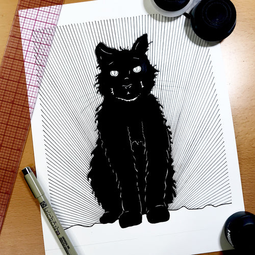 Luna Cat - Kitty Inspired Original Ink Illustration