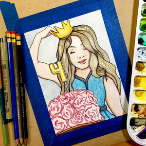 Four - Celebration Inspired Original Watercolor & Ink Illustration