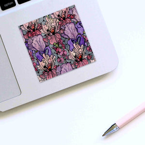 Floral Repetition - Flower Inspired Watercolor Painting - Square Vinyl Sticker