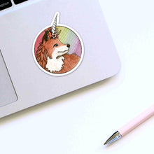Load image into Gallery viewer, Foxicorn - Unicorn Fox Inspired Watercolor Painting - Die Cut Vinyl Sticker