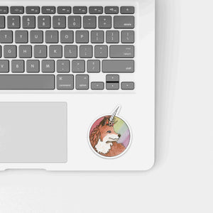 Foxicorn - Unicorn Fox Inspired Watercolor Painting - Die Cut Vinyl Sticker