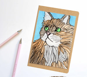 Green Eyed Cat, Pet Inspired Notebook / Sketchbook / Journal