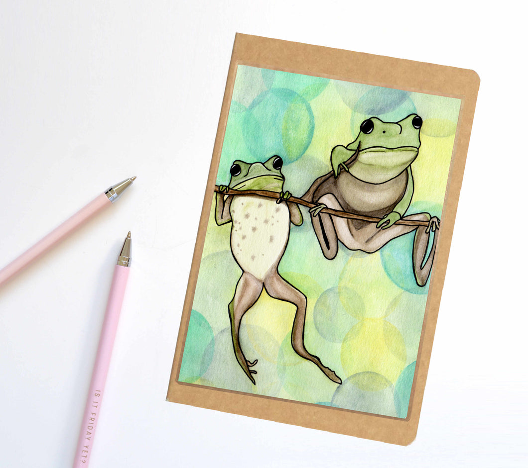 Hanging Out, Frog Inspired Notebook / Sketchbook / Journal