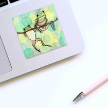 Load image into Gallery viewer, Hanging Out - Friendship Inspired Watercolor Painting - Square Vinyl Sticker