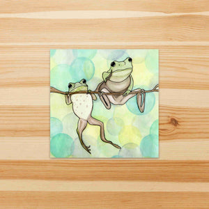 Hanging Out - Friendship Inspired Watercolor Painting - Square Vinyl Sticker