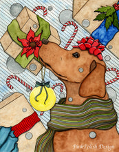 Load image into Gallery viewer, Holiday Expectations - Puppy Dog Watercolor Painting - Art Print