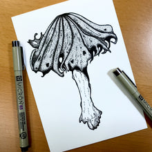"Load image into Gallery viewer, Alcohol Inky Mushroom - PNW Fungi Inspired Original Ink Illustration, 5""x7"""