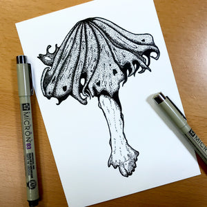 "Alcohol Inky Mushroom - PNW Fungi Inspired Original Ink Illustration, 5""x7"""