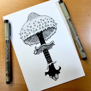 "Shaggy Parasol Mushroom - PNW Fungi Inspired Original Ink Illustration, 5""x7"""