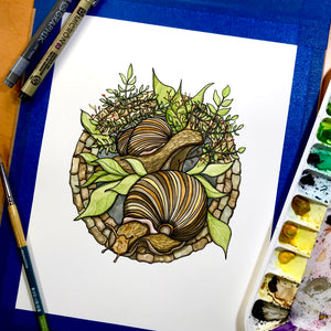 Snail Garden - Original Watercolor & Ink Illustration