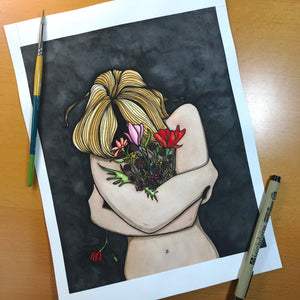 In Darkness Bloom - Original Watercolor & Ink Illustration
