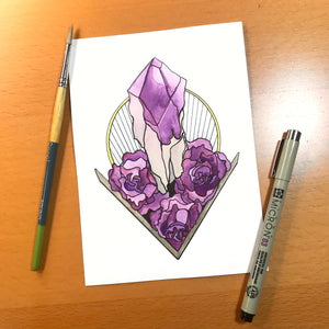 Amethyst - Original Watercolor & Ink Illustration