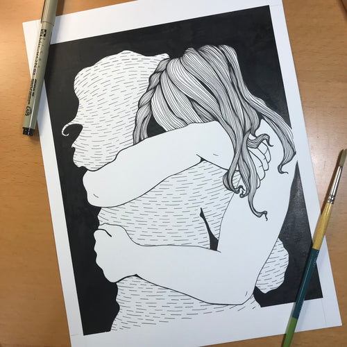 Virtual Hug - Mental Health Inspired Original Ink Illustration