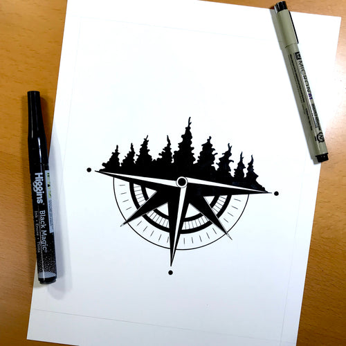 Tree Ridge Compass - Pacific Northwest Inspired Original Ink Illustration