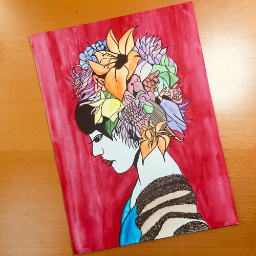 Bouquet - Flower Crown Inspired Original Watercolor & Ink Illustration