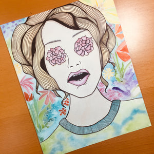 Flower Power - Floral Inspired Original Watercolor & Ink Illustration