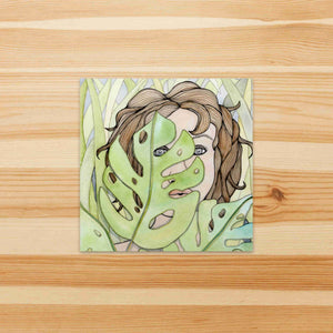 In the Weeds - Hide and Seek Inspired Watercolor Painting - Square Vinyl Sticker