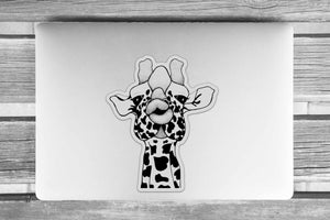 Kissy Face - Giraffe Inspired Ink drawing - Giant Vinyl Die Cut Sticker