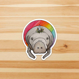 Manticorn - Unicorn Manatee Inspired Watercolor Painting - Die Cut Vinyl Sticker