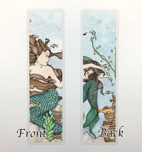 Mermaid Cove, 2-Sided Bookmark - Fantasy Inspired  Watercolor Painting Art Print