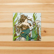 Load image into Gallery viewer, Mermaid Cove  - Fantasy Inspired Watercolor Painting - Square Vinyl Sticker