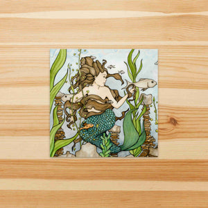 Mermaid Cove  - Fantasy Inspired Watercolor Painting - Square Vinyl Sticker