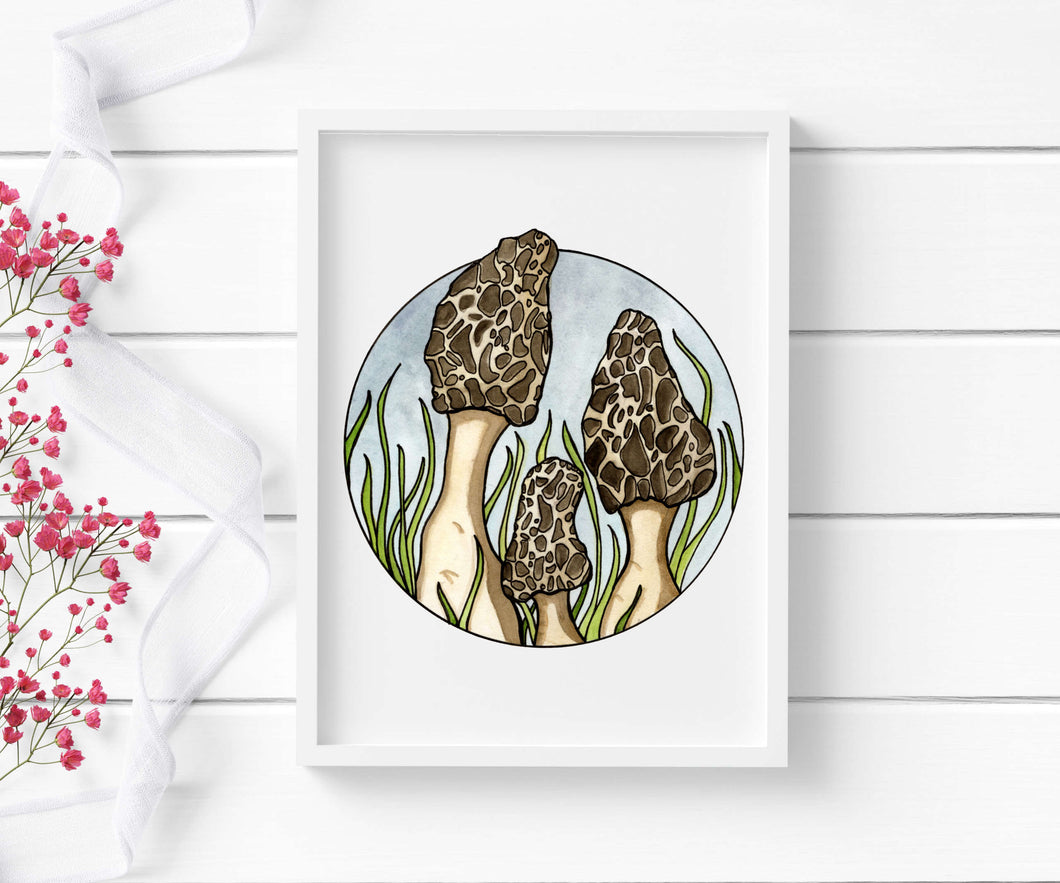 Morel Mushrooms -Fungi Inspired Watercolor - Art Print