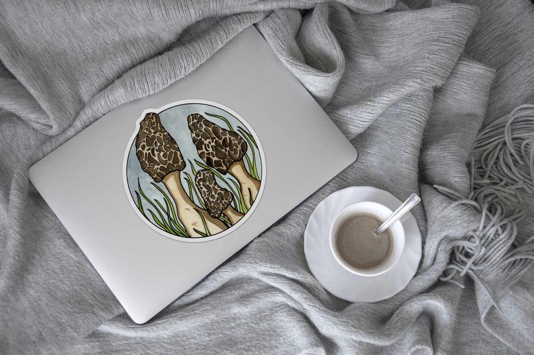 Morel Mushrooms - Fungi Inspired Ink drawing - Giant Vinyl Die Cut Sticker