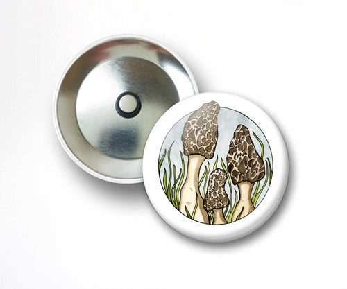 Morel Mushrooms - Fungi Inspired Watercolor Art Print - 2.25 Inch Refrigerator Magnet