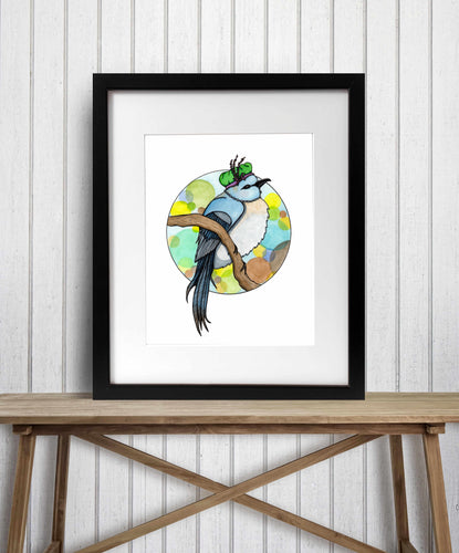 Ms Finch - Woodland Creature Watercolor Painting - Art Print