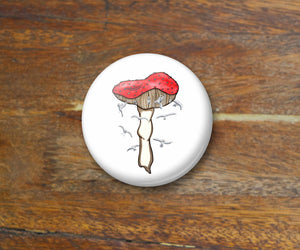 Mushroom Magic - Fungi Inspired Watercolor Art Print - 2.25 Inch Refrigerator Magnet