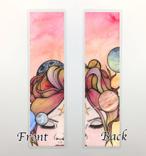 Load image into Gallery viewer, Orbit, 2-Sided Bookmark - Sun Goddess Inspired Watercolor Painting Art Print