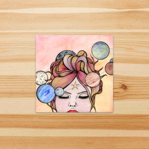 Orbit - Celestial Inspired Watercolor Painting - Square Vinyl Sticker