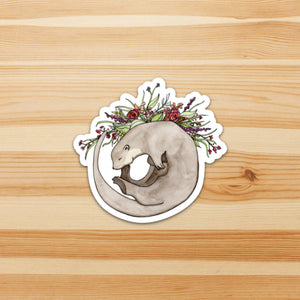 Otter Bouquet- Sea Otter Inspired Watercolor - Die Cut Vinyl Sticker