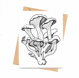 Oyster Mushrooms - Fungi Inspired Ink Drawing Card - Handmade Note Card