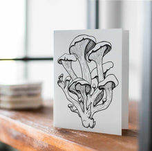 Load image into Gallery viewer, Oyster Mushrooms - Fungi Inspired Ink Drawing Card - Handmade Note Card
