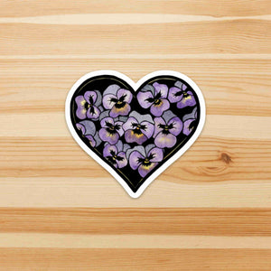 Pansy Valentine - Floral Inspired Watercolor - Die Cut Vinyl Sticker