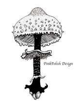 "Load image into Gallery viewer, Shaggy Parasol Mushroom - PNW Fungi Inspired Original Ink Illustration, 5""x7"""