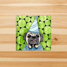 Load image into Gallery viewer, Party Animal - Pet Inspired Watercolor Painting - Square Vinyl Sticker