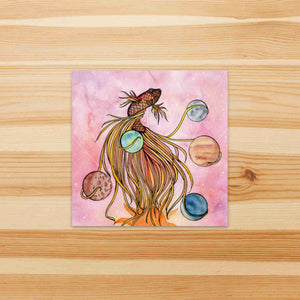 Pisces - Celestial Inspired Watercolor Painting - Square Vinyl Sticker