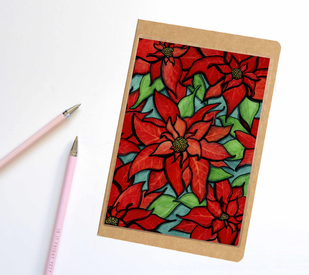 Poinsettia, Holiday Inspired Notebook / Sketchbook / Journal